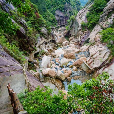 Huihang Ancient Trail Hiking Tour,  long stone steps in mountains between Anhui and Zhejiang, China