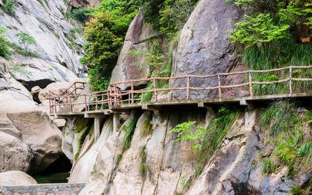 Huihang Ancient Trail Hiking Tour, pier in mountains between Anhui and Zhejiang, China