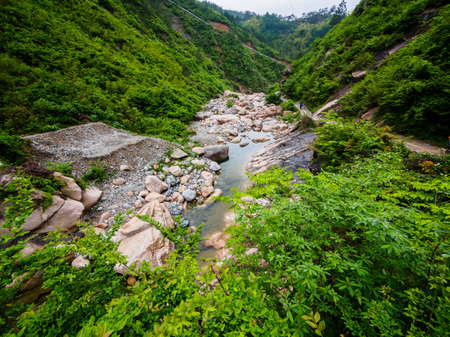 Huihang Ancient Trail Hiking Tour.   river in mountains between Anhui and Zhejiang, China