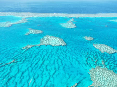 Aerial view of Great Barrier Reef in Whitsundays, Queensland, Australia