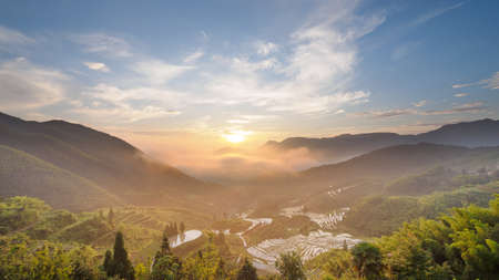 Sunrise in mountain terrace