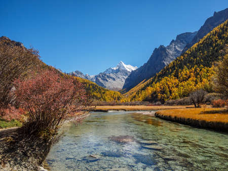 Beautiful autumn landscape of Daocheng Yading National Park.