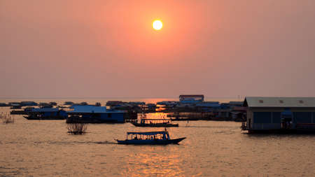 Sunset on the Tonle Sap Lake, Siem Reap, Cambodia