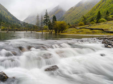 Long exposure shot of mountain river in Sichuan province, China.