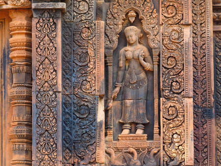 Dancing apsara on the wall in Angkor Wat, Siem Reap, Cambodia.