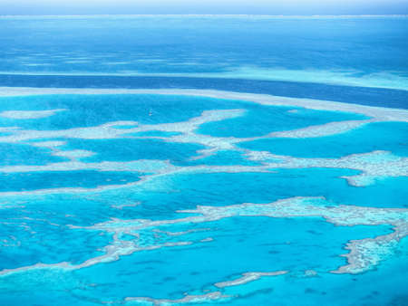 great barrier reef marine park: Aerial view of Great Barrier Reef in Whitsundays, Queensland, Australia