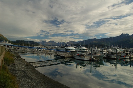 View of harbour in Seward, Alaska photo