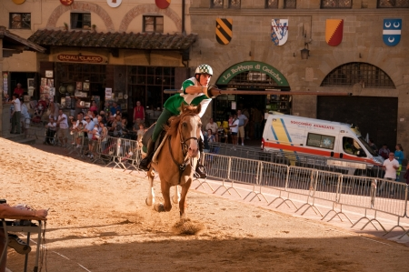palio: Horse riding in Saracen Joust in Arezzo, Italy Editorial