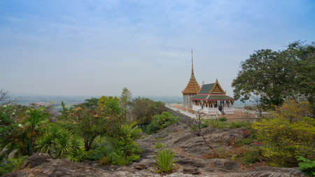 The temple is located on a high mountain in Thailand, Suphanburi, Province District U- Tong The temple name Wut Kow Dee Saluk