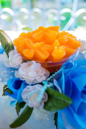 Doonghiib dessert desserts delicious Thailand  placed on a plastic flower Stock Photo