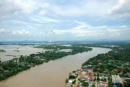 vexation: Thailand floods, Natural Disaster,  Helicopter surveys flood