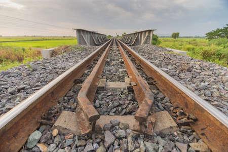 Railway track on steel truss bridge