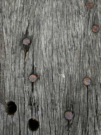 macro: Nail on wood macro Stock Photo