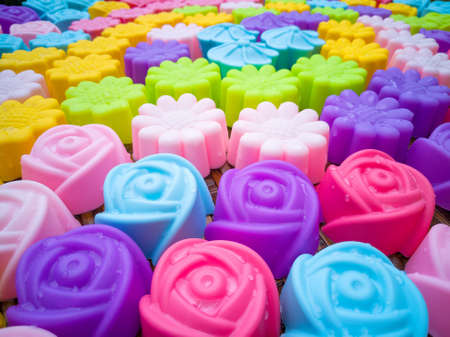 resistant: Silicone baking molds, colorful flowers. Colorful of silicone molds for baking