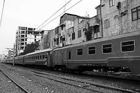 unused train carriage in the slums Editorial
