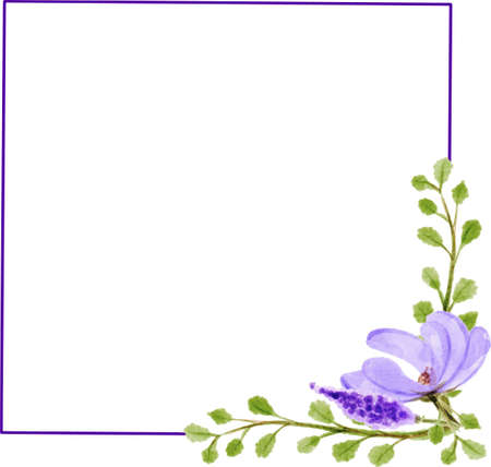 Purple Square Frame watercolor 1
