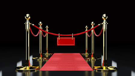 Red Event Carpet, Stair and Gold Rope Barrier Concept of Success and Triumph