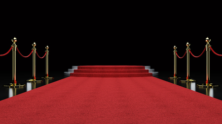 Red Event Carpet, Stair and Gold Rope Barrier Concept of Success and Triumph, 3d rendering Stock Photo
