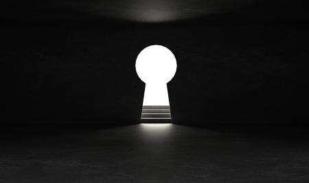 Schlüsselloch an der schwarzen Wand mit hellem und glänzendem Glüheffekt
