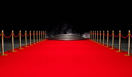 Red Event Carpet, Stair and Gold Barrier Concept of Success and Triumph, VIP