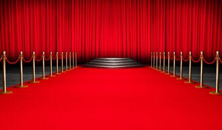 Red Event Carpet, Stair and Gold Barrier Erfolgs- und Triumphkonzept, VIP Standard-Bild