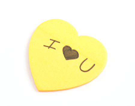 The Words I Love You Written On Yellow heart Sticky Notes photo