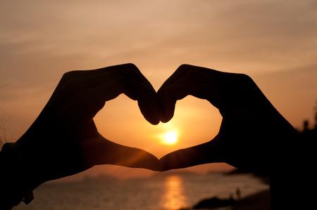 Silhouette Heart from hand 免版税图像