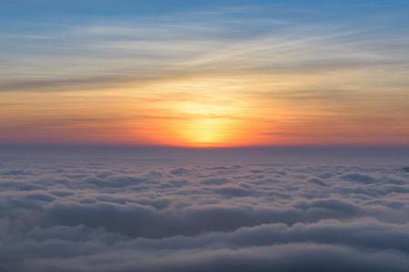 beautiful sky: beautiful sunset sky with fog
