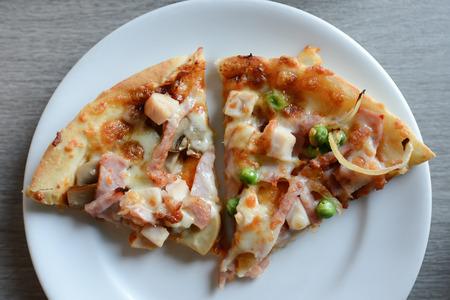 ham and cheese: pizza,ham,cheese Stock Photo