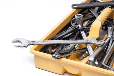 hardware tools: Toolbox with tools.  wrench