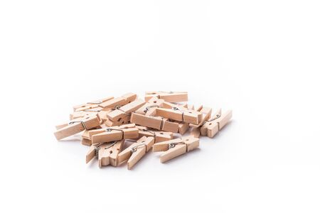 sprung: wooden pegs isolated on wgite background Stock Photo