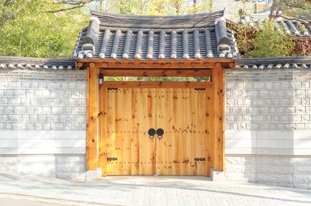 korean style house: wooden door korean style Stock Photo
