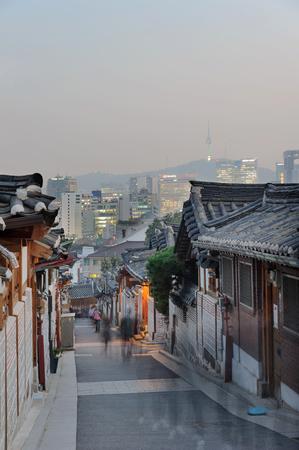 The Bukchon Hanok village at night in Korea