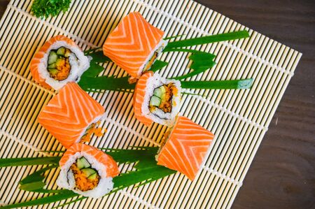 delicious sushi roll Japanese food, Salmon menu Japanese food cuisine