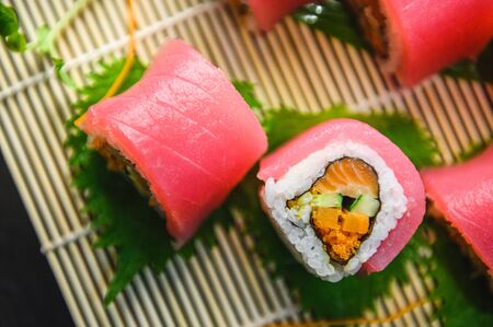 maguro sushi roll Japanese food, fresh tuna menu Japanese food cuisine