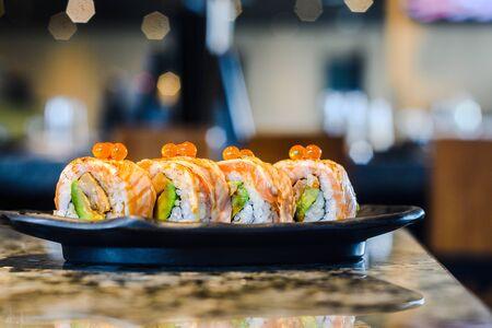 japanese traditional food sushi roll 免版税图像