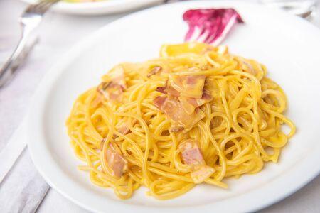 spaghetti cabonara italian, pasta dish 免版税图像