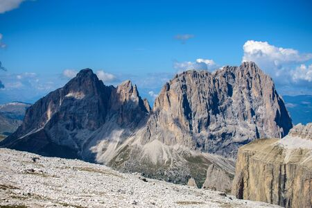 landscape scenic viewpoint on Mt. Sass Pordoi, Dolomite Alps, Italy