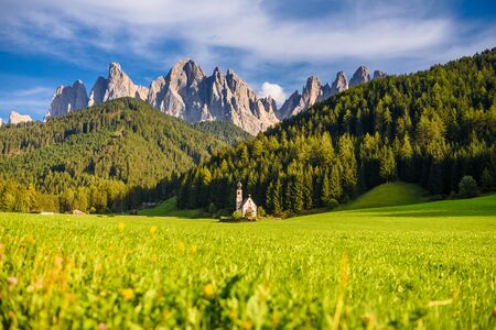 landscape scenic of Saint Johns Church in the Val Di Funes , famous travel location Dolomite Alps, Italy