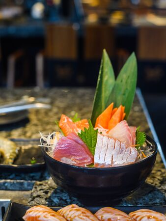 japanese traditional food  raw fish sashimi Stock Photo