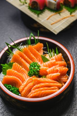 salmon slice Japanese cuisine ,fresh salmon sashimi in Japanese style