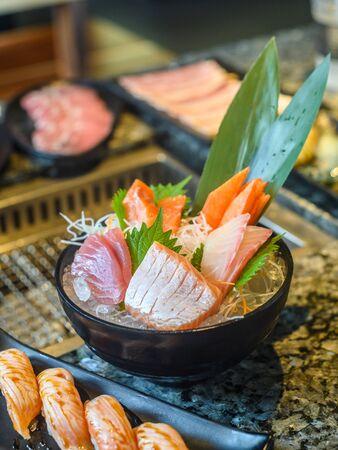 japanese traditional food  raw fish sashimi 免版税图像