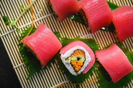 maguro sushi roll Japanese food, fresh tuna menu Japanese food cuisine