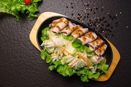 slice pork with vegatable,sukiyaki asian delicious food 免版税图像