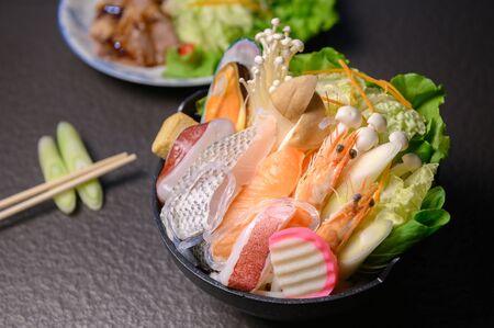 seafood,shimp and fish with vegatable,sukiyaki asian delicious food