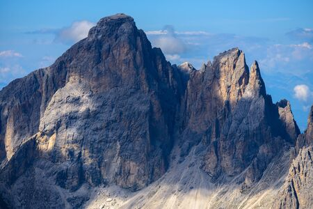 landscape scenic viewpoint on Mt. Sass Pordoi, Dolomite Alps, Italy
