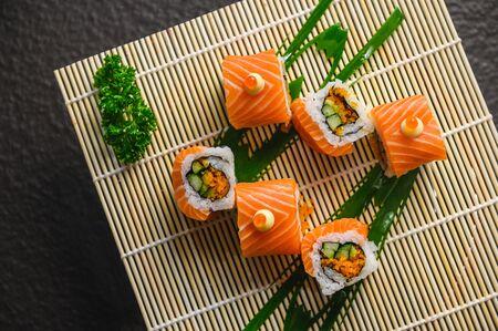 delicious sushi roll Japanese food, Salmon menu Japanese food cuisine