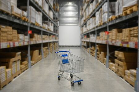 shopping cart in stock Warehouse ,product store