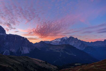 landscape scenic viewpoint at Passo Sella , Dolomite Alps, Italy