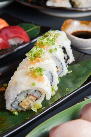 Sushi Japanese food in Resturant,delicious fresh raw fish